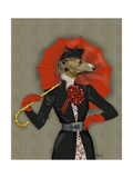 Elegant Greyhound and Red Umbrella Lámina giclée prémium por  Fab Funky
