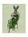 Lady Bella Rabbit Taking Tea Giclée-Premiumdruck von  Fab Funky