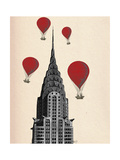 Chrysler Building and Red Hot Air Balloons Posters par  Fab Funky