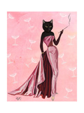 Glamour Cat in Pink Giclée-Premiumdruck von  Fab Funky