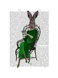 Lady Bella Rabbit Taking Tea Affiches par  Fab Funky
