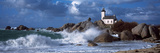 Lighthouse on the Coast, Pontusval Lighthouse, Brignogan, Finistere, Brittany, France Fotoprint