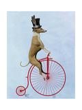 Greyhound on Red Penny Farthing Giclée-Premiumdruck von  Fab Funky