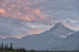 Alpenglow Lights Up Royal Mountain, Towering Above the Wind River Photographic Print by Peter Mather