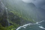 Aerial of Storm, Along North Shore Cliffs, Molokai, Hawaii Fotografisk trykk av Richard Cooke III