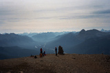 Climbers Stand on the Flat Summit of Eisenhower Tower in Banff National Park Photographic Print by Michael Hanson