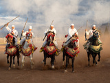 Berber Horseman Pulling Up after Firing Rifles During a Fantasia, Dades Valley, Morocco Lámina fotográfica