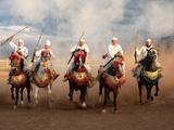 Berber Horseman Pulling Up after Firing Rifles During a Fantasia, Dades Valley, Morocco Impressão fotográfica por Green Light Collection