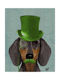 Dachshund with Green Top Hat Black Tan Posters af  Fab Funky