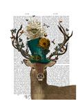 Mad Hatter Deer Kunst af  Fab Funky