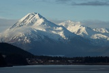 A Scenic View of the Snowy Chilkat Range and the Town of Haines Below, on the Coast Photographic Print by Bob Smith