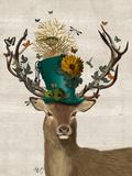 Mad Hatter Deer Kunstdrucke von  Fab Funky
