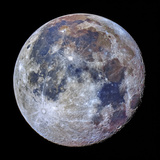 Telescopic Close Up View of the Moon with Enhanced Colors Premium-Fotodruck von Babak Tafreshi