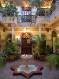 Interior Courtyard of Villa Des Orangers Hotel, Marrakesh, Morocco Fotografie-Druck
