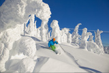 A Skier Turns in Deep Powder Beneath Frozen Trees at the Big White Ski Resort Photographic Print by Michael Hanson
