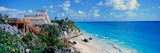 A Panoramic of Mayan Ruins of Ruinas De Tulum (Tulum Ruins) and El Castillo at Sunset Reproduction photographique
