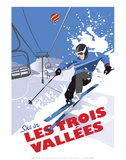 Les Trois Vallees - Dave Thompson Contemporary Travel Print Prints by Dave Thompson