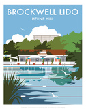 Brockwell Lido - Dave Thompson Contemporary Travel Print Prints by Dave Thompson
