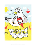 Seagull and Chips - Tommy Human Cartoon Print Posters by Tommy Human