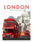London Routemaster - Dave Thompson Contemporary Travel Print Poster von Dave Thompson