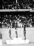 1968 Olympic Games, Mexiko City, Mens 200 M, Tommie Smith, USA, Gold, and J, Carlos, Bronze Fotografia