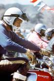American Actor Steve Mac Queen Taking Part into a Cross Sponsored by Husqvarna C. 1971 Foto
