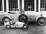 Jean Bugatti and Roland Bugatti Sons of Ettore Bugatti in Cars Made by their Father, C. 1928 Fotografia