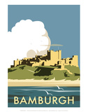 Bamburgh - Dave Thompson Contemporary Travel Print Prints by Dave Thompson