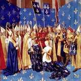 Coronation of French King Louis VIII and Queen Blanche of Castille in 1223 Foto