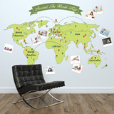 Around The World Map Adesivo de parede