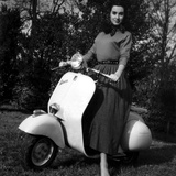 Paola Mori on a Vespa During Her Honeymoon with Orsonwelles in South of France, May 1955 Photo