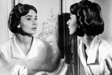 Actress Audrey Hepburn Looking at Her Reflection in the Mirror January 16, 1957 写真