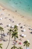 Waikiki Beach, Waikiki, Honolulu, Oahu, Hawaii, United States of America, Pacific Stretched Canvas Print by Michael DeFreitas