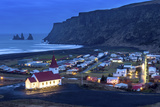 Twilight View across the Small Town of Vik, South Iceland, Iceland, Polar Regions Photographic Print by Chris Hepburn