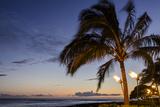 Tiki Torches at Sunset on Poipu Beach, Kauai, Hawaii, United States of America, Pacific Photographic Print by Michael DeFreitas