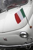 Italian Flag on Fiat 500 Car, Rome, Lazio, Italy, Europe Fotografie-Druck von Stuart Black