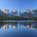 Grandes Jorasses and Dent Du Geant Reflected at Sunrise in Lac Des Cheserys Photographic Print by Roberto Moiola
