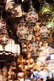 Mosaic Glass Turkish Lights on Display, Grand Bazaar (Kapali Carsi), Istanbul, Turkey Fotografisk tryk af Ben Pipe