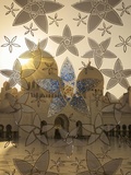 Decorated Glass Door in Sheikh Zayed Grand Mosque, Abu Dhabi, United Arab Emirates, Middle East Fotografisk trykk av Angelo Cavalli