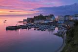 View over Harbour and Castle at Dawn, Tenby, Carmarthen Bay, Pembrokeshire, Wales, UK Fotografie-Druck von Stuart Black