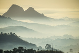Sunrise and Fog over the Mountains Surrounding Blantyre, Malawi, Africa Fotografisk tryk af Michael Runkel