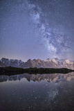 A Sharp Milky Way on a Starry Night at Lac Des Cheserys with Mont Blanc's Highest Peak Fotografisk tryk af Roberto Moiola
