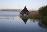 Llangorse Lake and Crannog Island in Morning Mist 写真プリント : スチュアート・ブラック