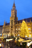 Overview of the Marienplatz Christmas Market and the New Town Hall, Munich, Bavaria, Germany Photographic Print by Miles Ertman