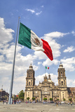 Mexican Flag, Plaza of the Constitution (Zocalo), Metropolitan Cathedral in Background Reproduction photographique par Richard Maschmeyer