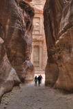 Tourists Approaching the Treasury from the Siq, Petra, Jordan, Middle East Photographic Print by Richard Maschmeyer