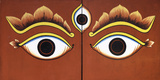 Buddha Eyes Painted on a Door in Kathmandu, Nepal, Asia Reproduction photographique par John Woodworth