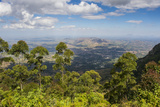 View over Zomba and the Highlands from the Zomba Plateau, Malawi, Africa Fotografisk tryk af Michael Runkel
