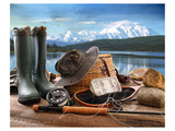 Fly Fishing Equipment on Deck Poster