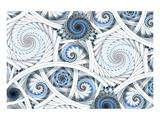 Escher-Like Fractal Spirals Affiche